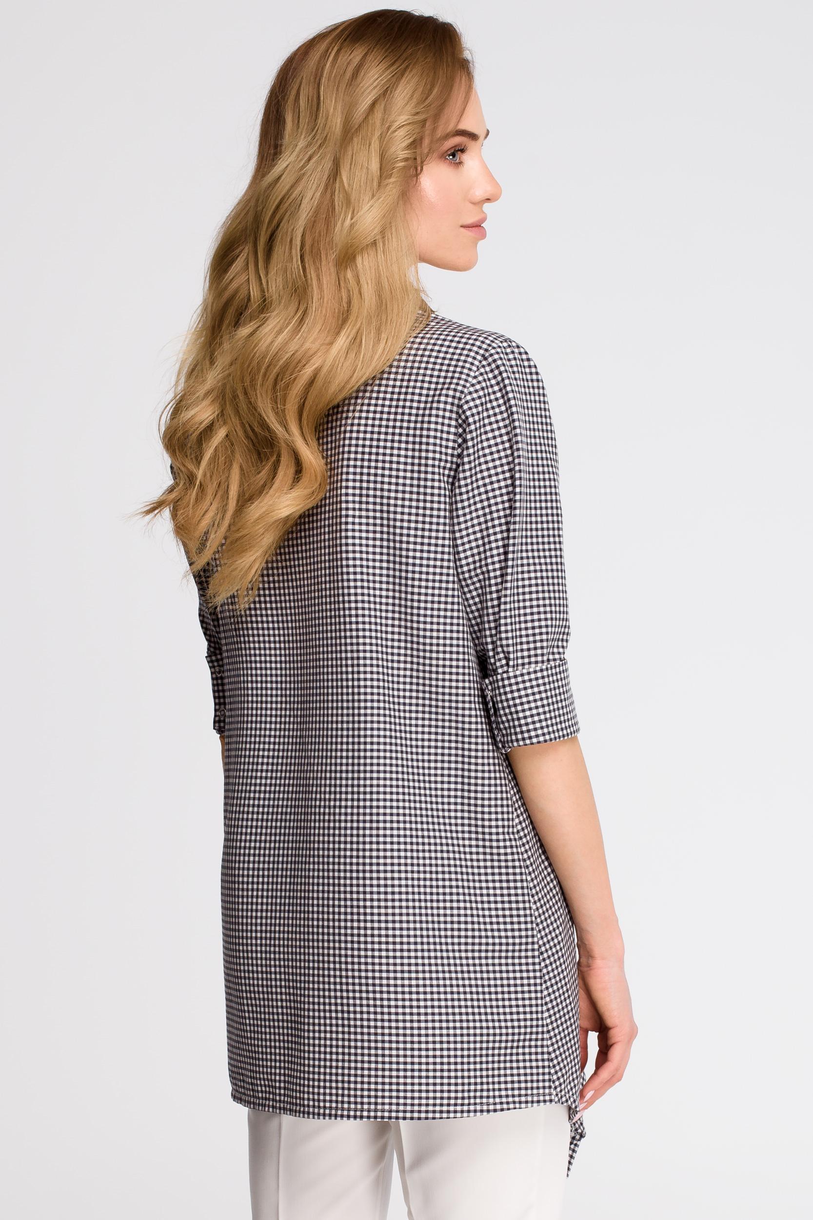 CM3622 Luźna koszula w kratkę - czarna