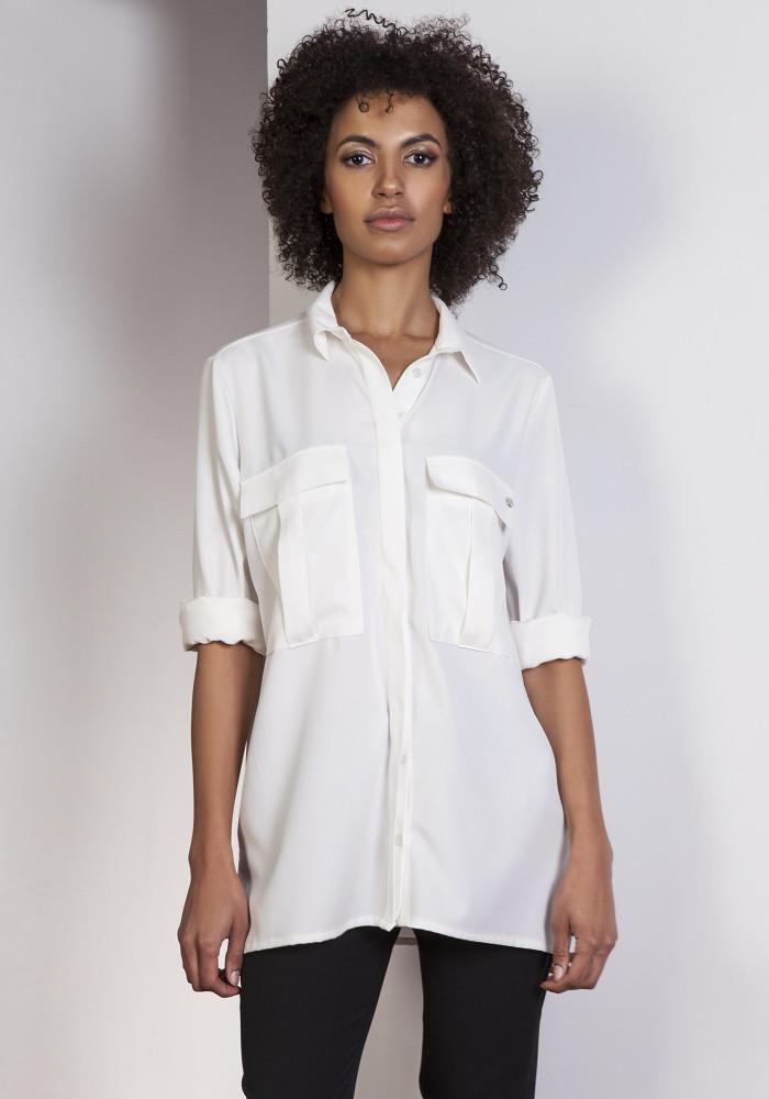 CM3648 Elegancka koszula oversize - ecru