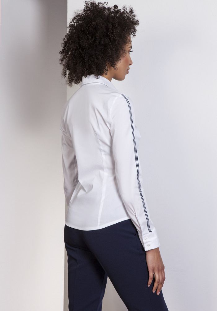 CM3649 Klasyczna koszula z lampasami - ecru