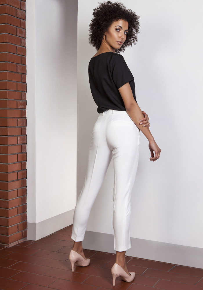 CM3650 Spodnie rurki z wysokim stanem - ecru