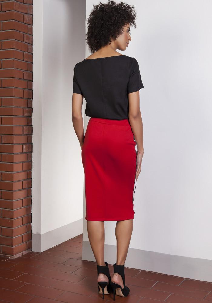 CM3651 Ołówkowa spódnica midi z lampasami - czerwona