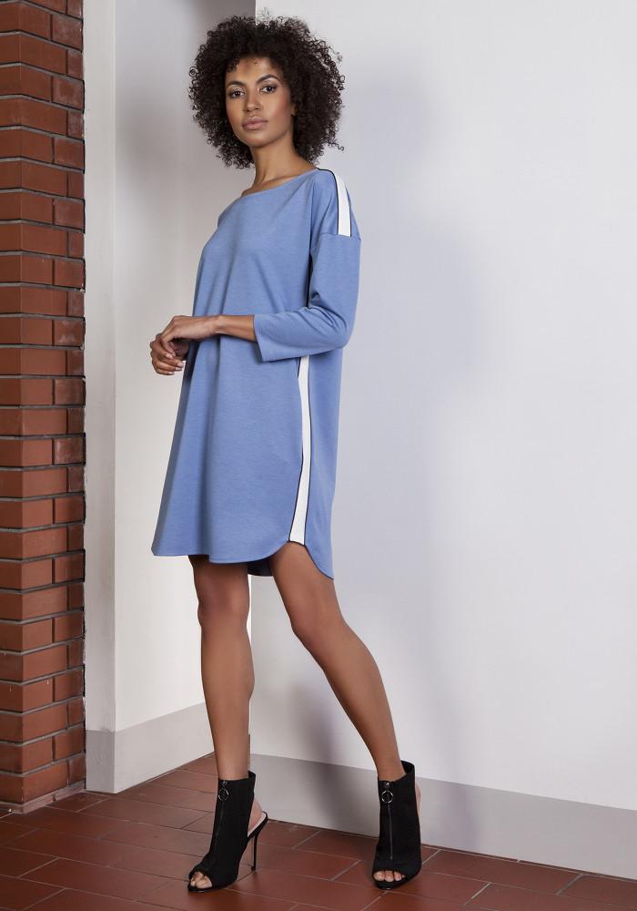 CM3653 Sportowa sukienka mini z lampasami - niebieska