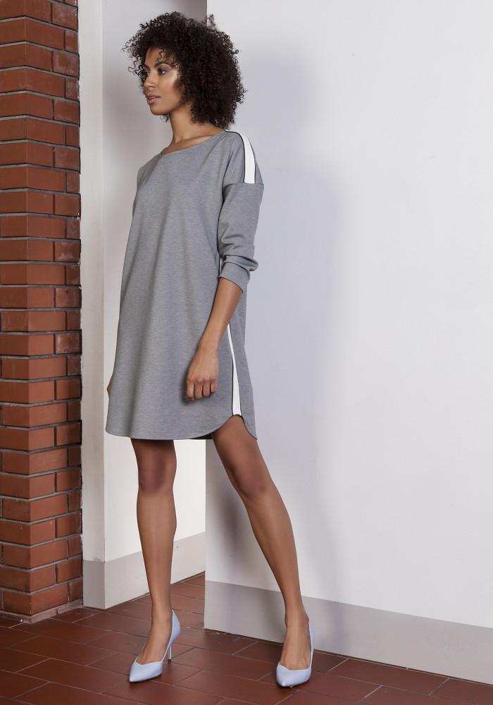 CM3653 Sportowa sukienka mini z lampasami - szara