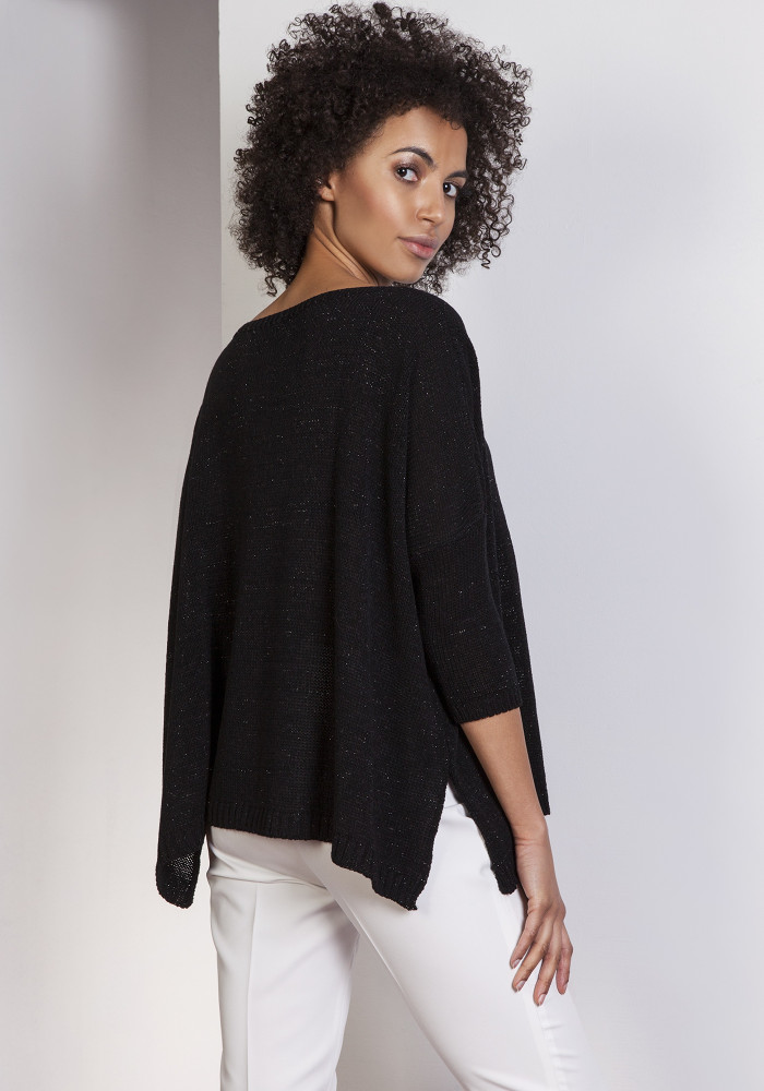 CM3656 Elegancki sweter oversize - czarny