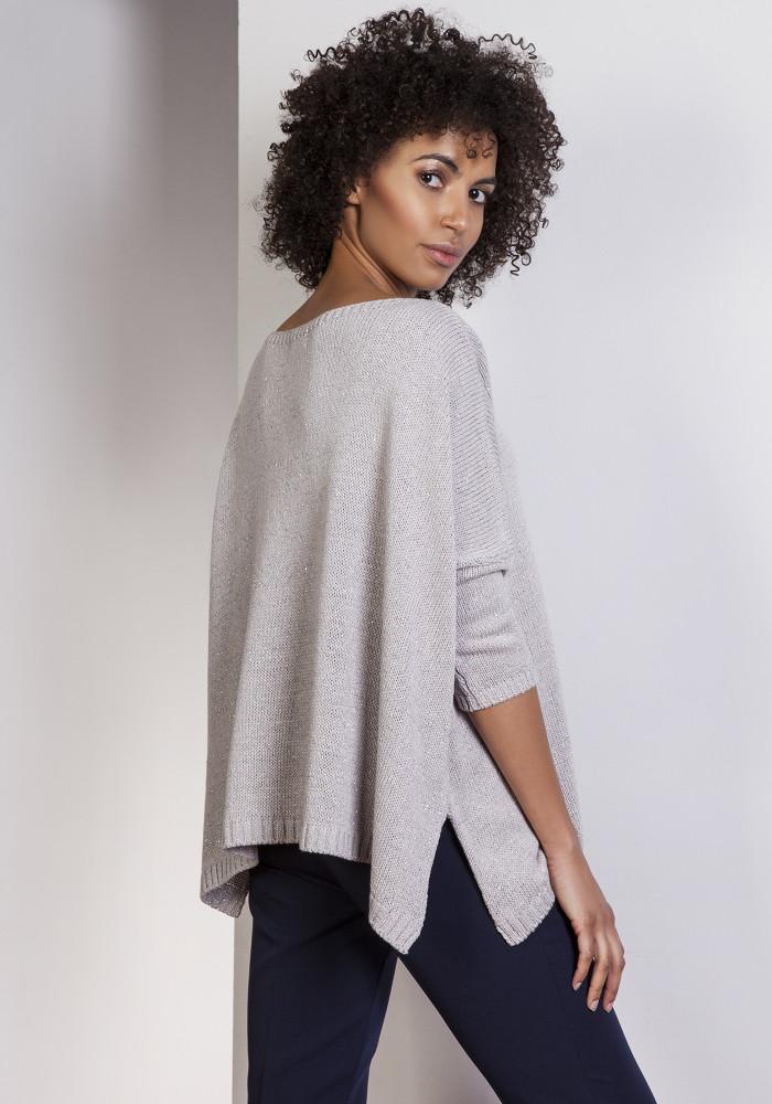 CM3656 Elegancki sweter oversize - szary
