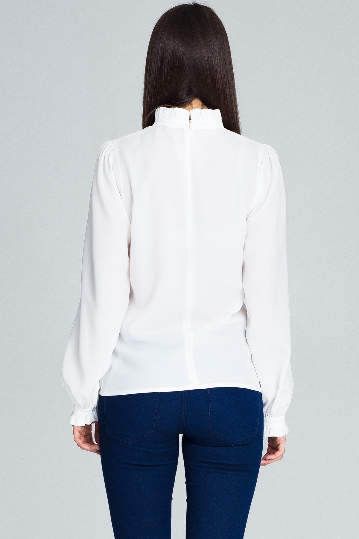 CM3661 Elegancka bluzka z marszczonymi rękawami - ecru