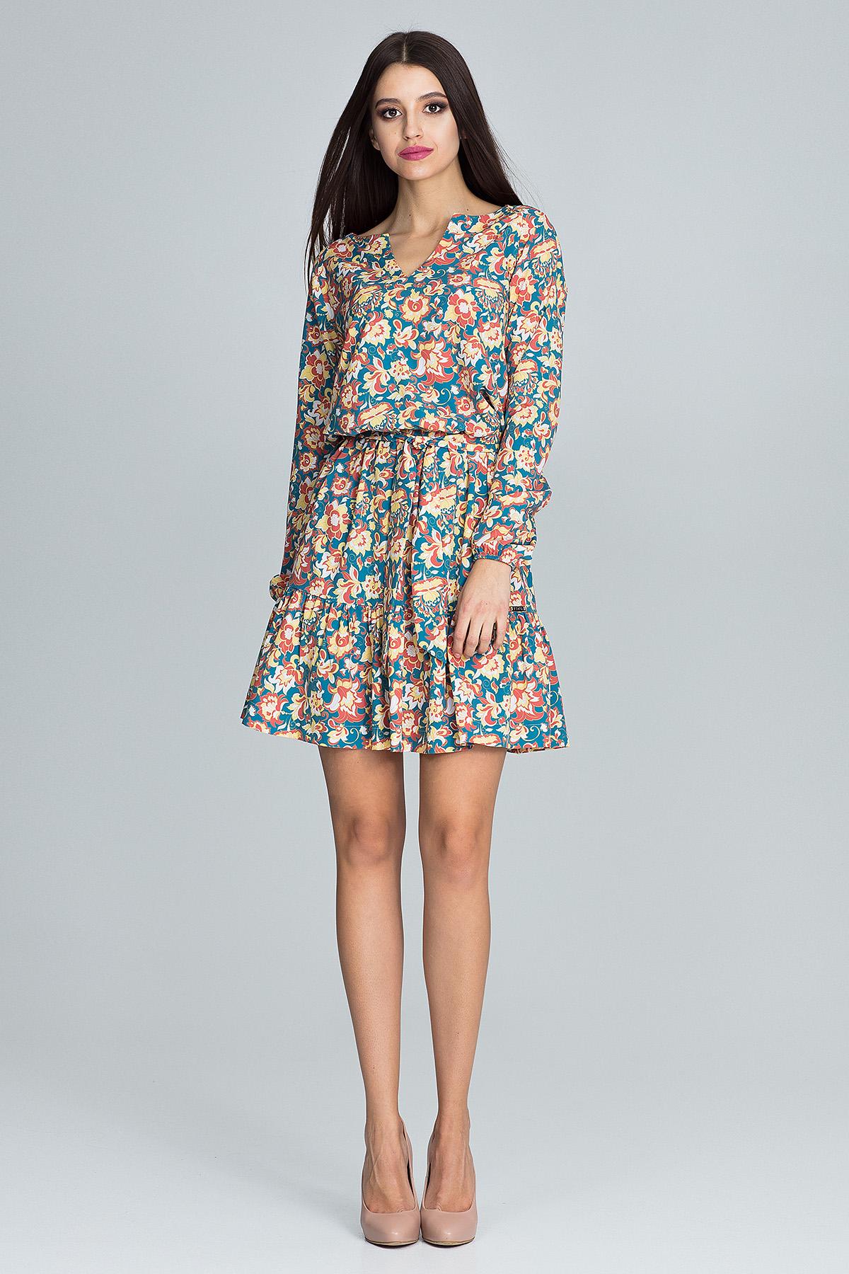 CM3663 Zwiewna sukienka mini z paskiem - wzór 80