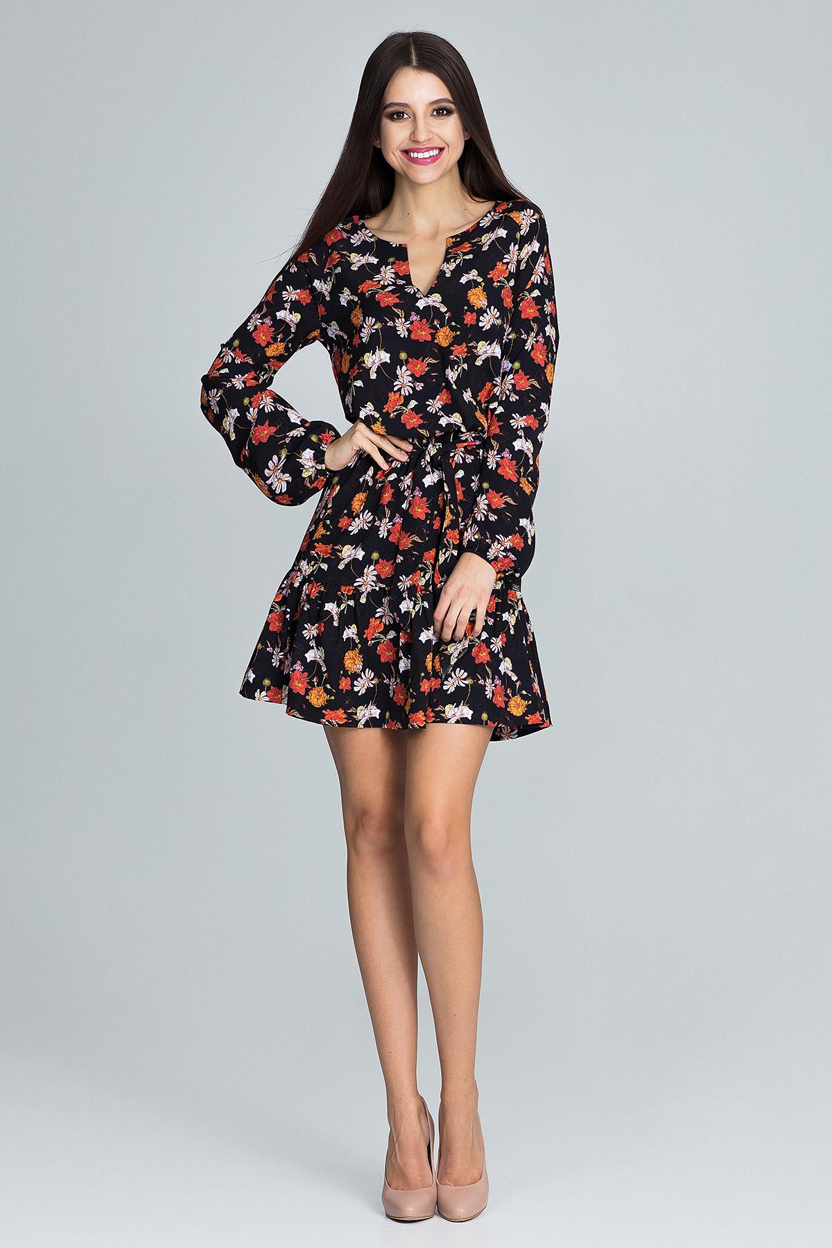 CM3663 Zwiewna sukienka mini z paskiem - wzór 82
