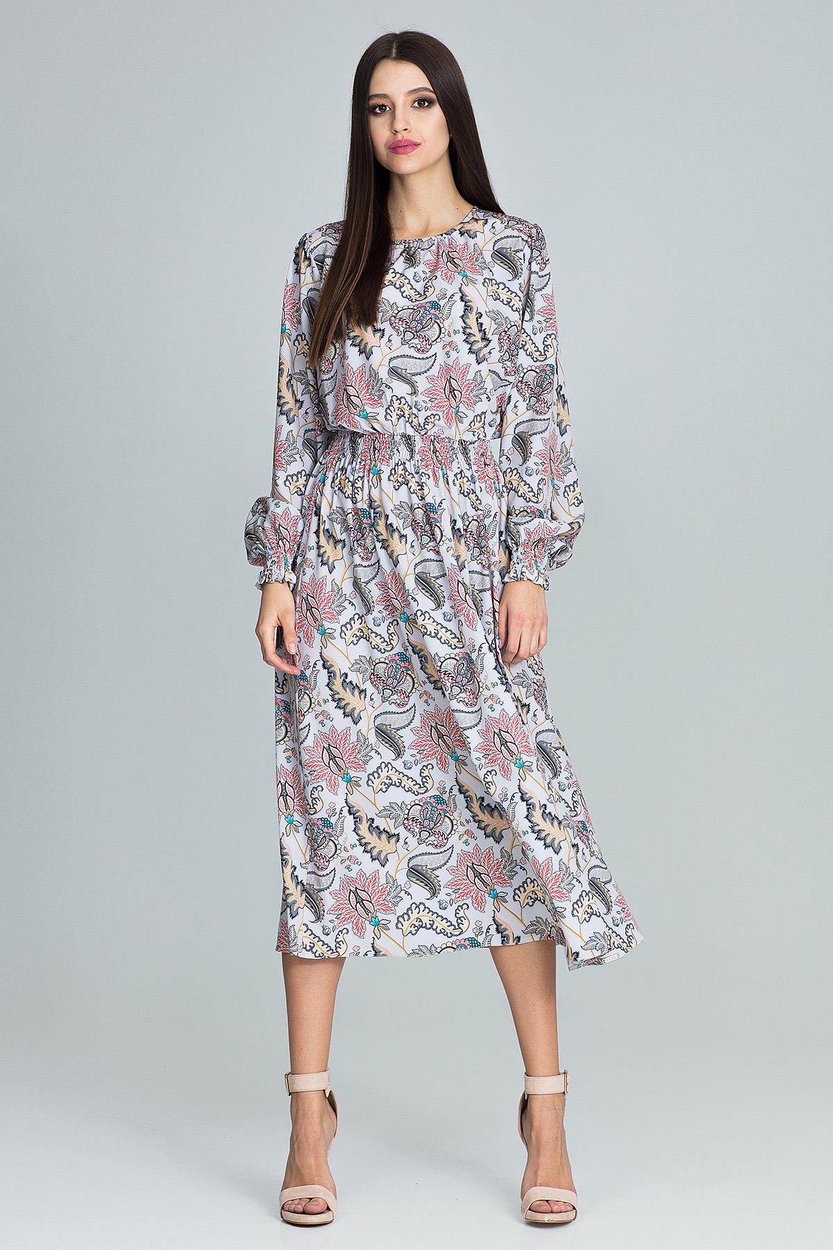 CM3666 Długa sukienka z gumką w pasie - wzór 79