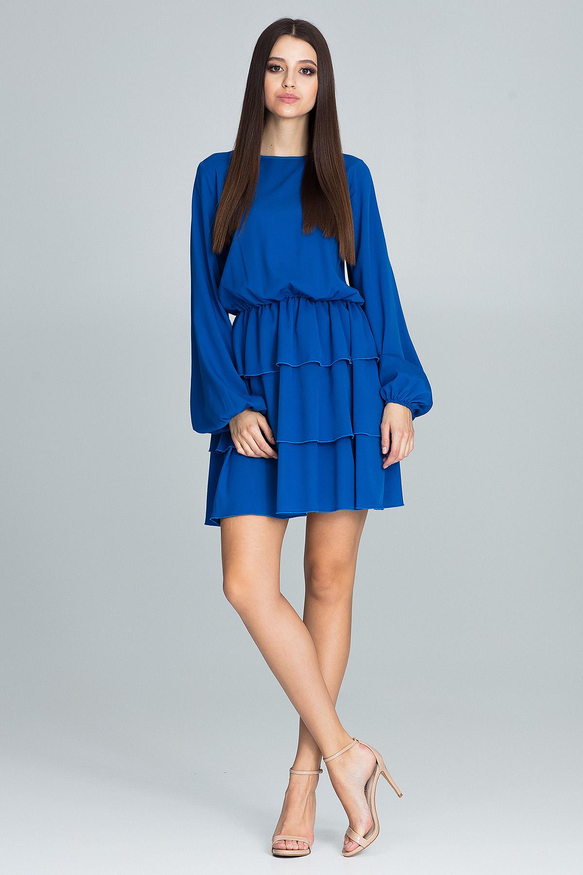CM3667 Sukienka z marszczeniami i falbanami - niebieska