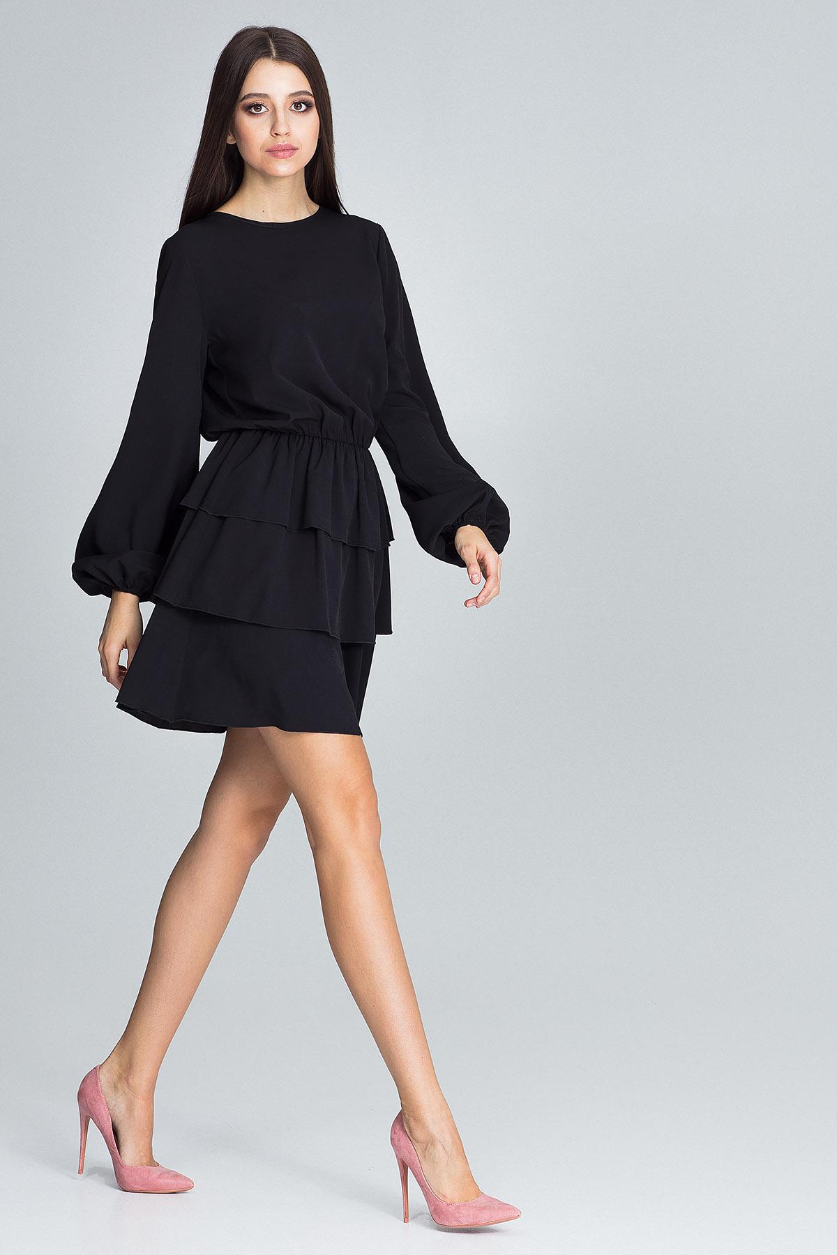 CM3667 Sukienka z marszczeniami i falbanami - czarna