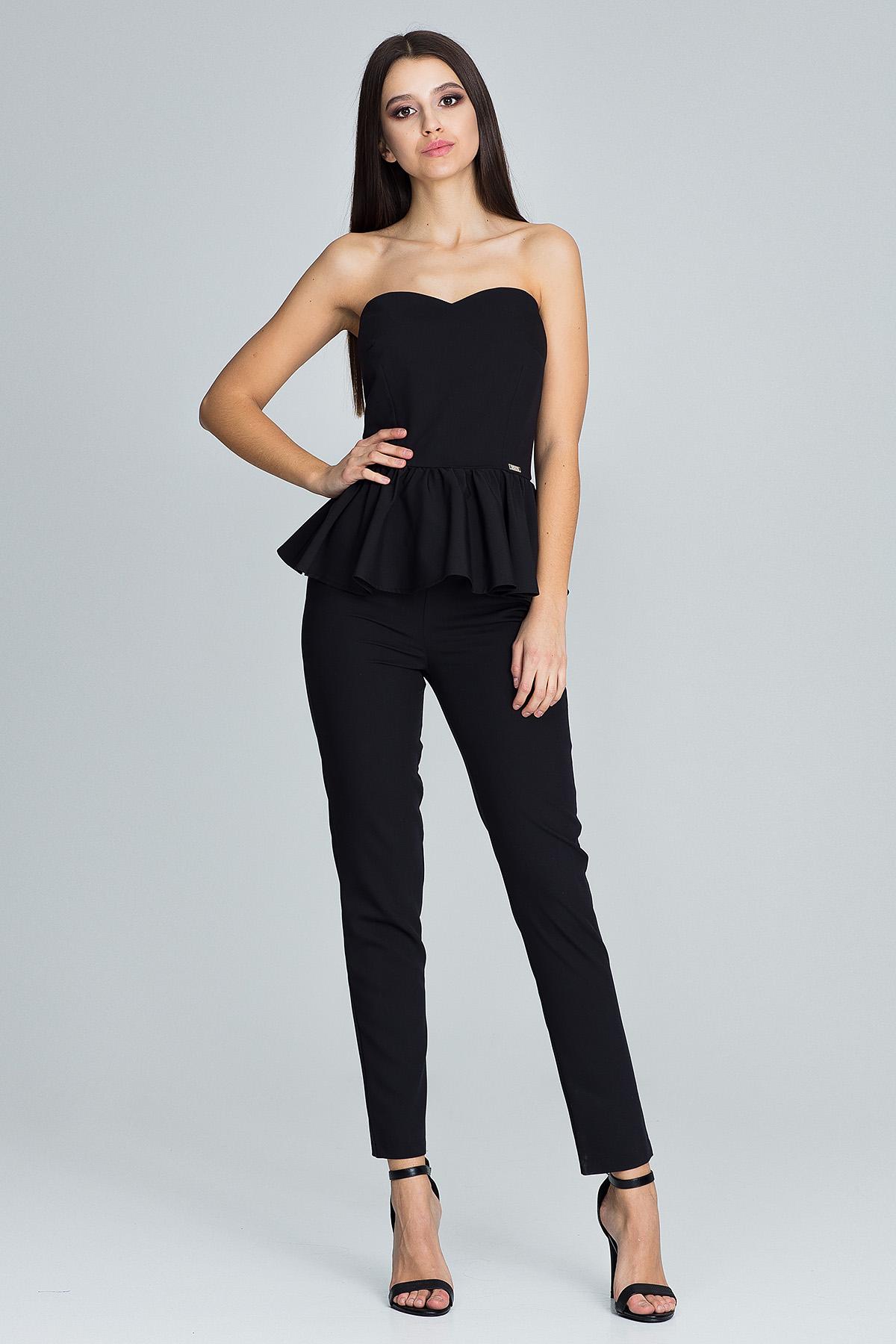 CM3672 Elegancki komplet - spodnie z gorsetem - czarny