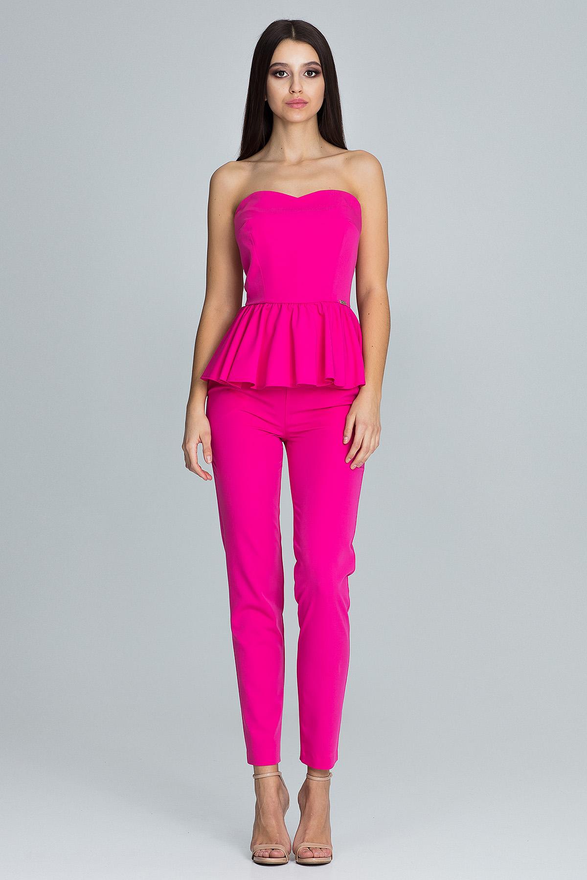CM3672 Elegancki komplet - spodnie z gorsetem - fuksja