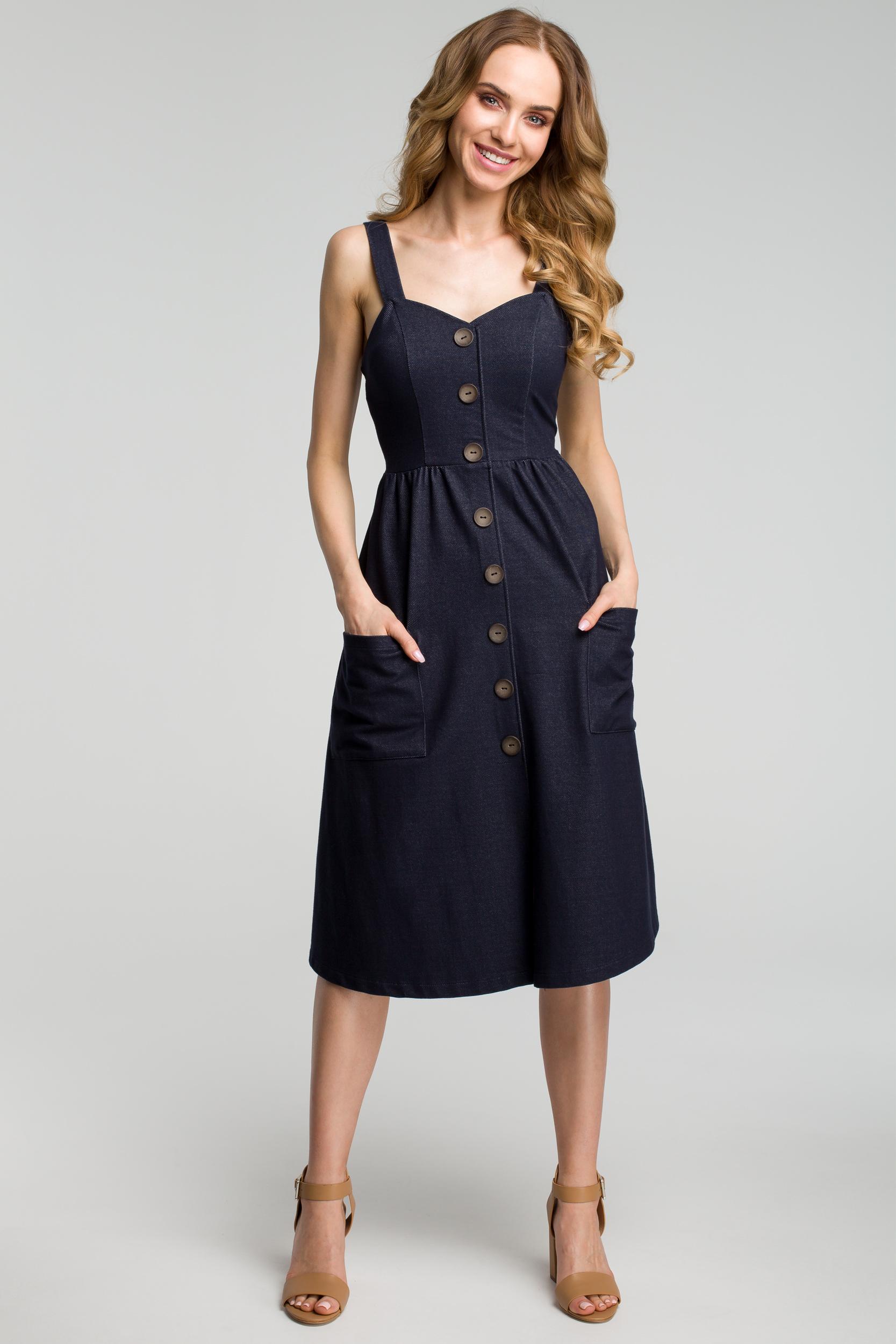 CM3635 Sukienka na szelkach z guzikami - granatowa
