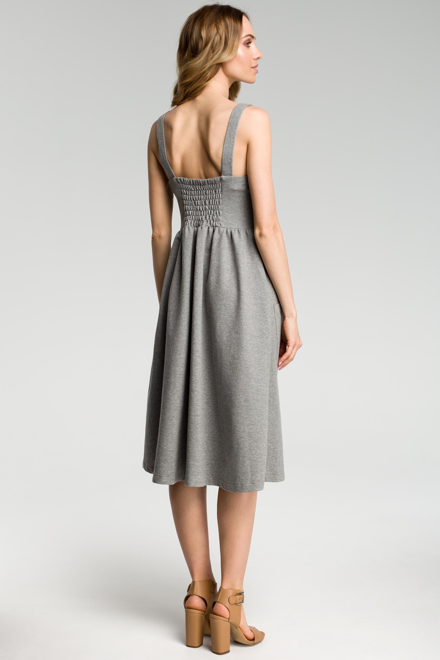 CM3635 Sukienka na szelkach z guzikami - szary melanż