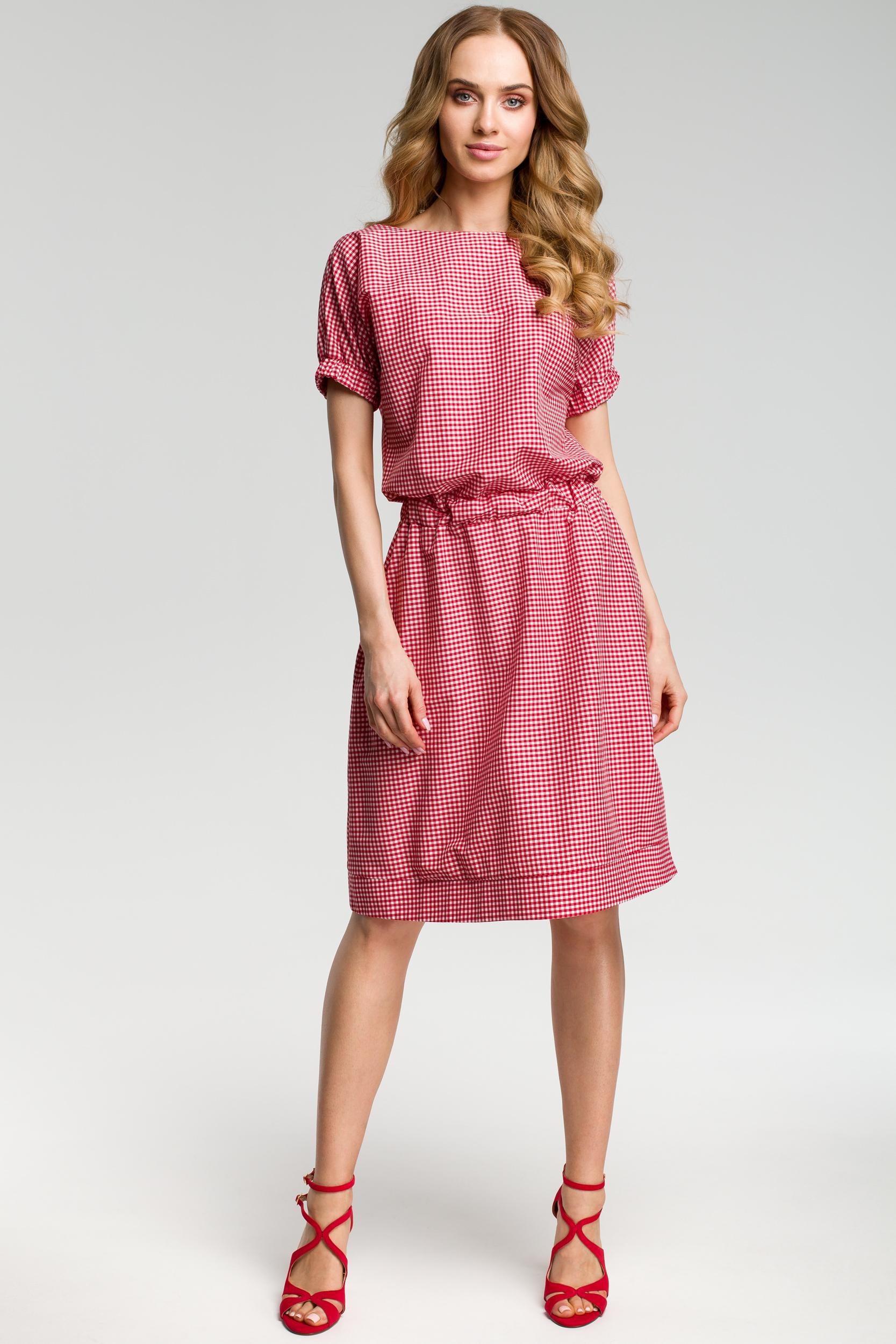 CM3636 Sukienka w kratkę - czerwona