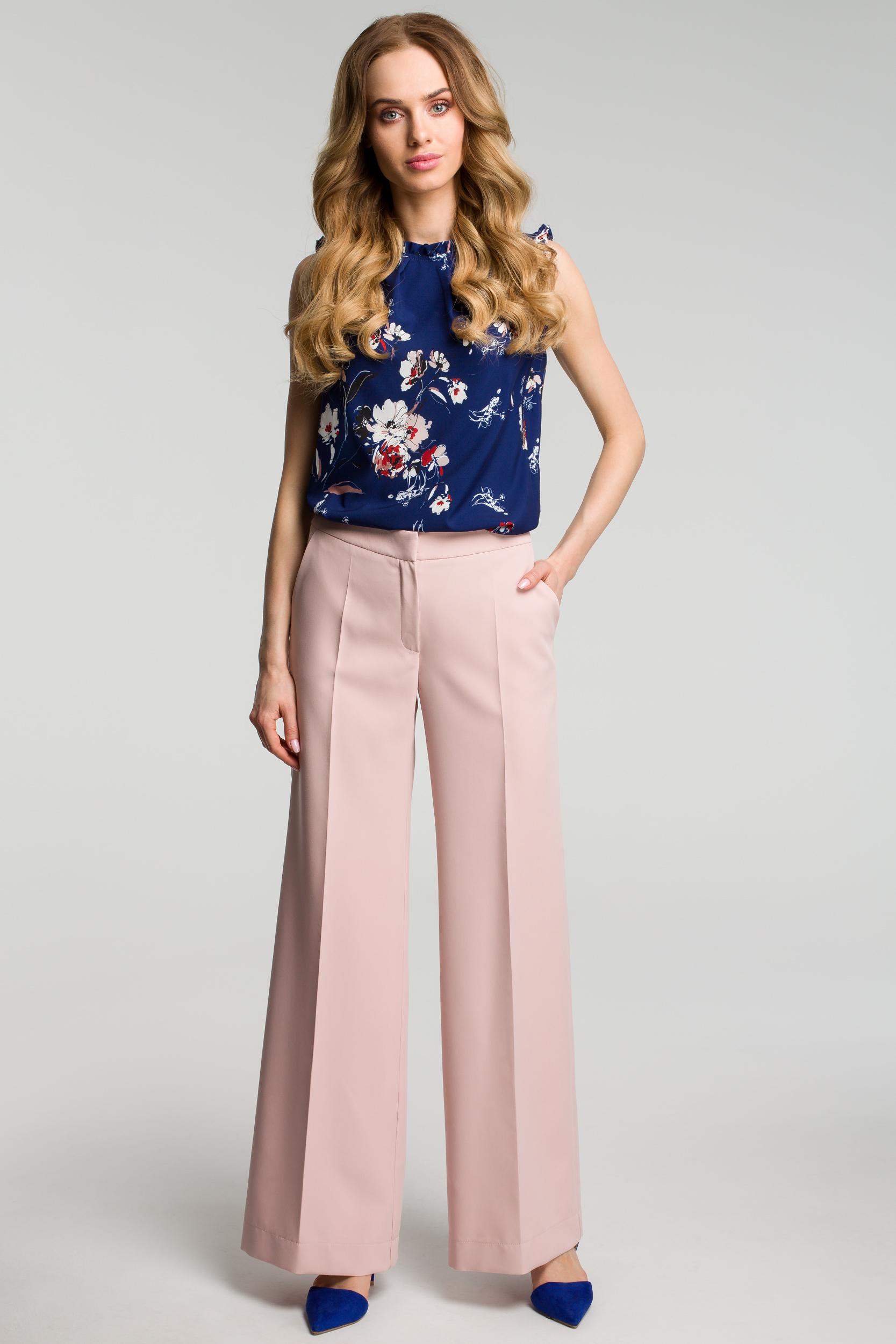 CM3638 Spodnie z szerokimi nogawkami - pudrowe