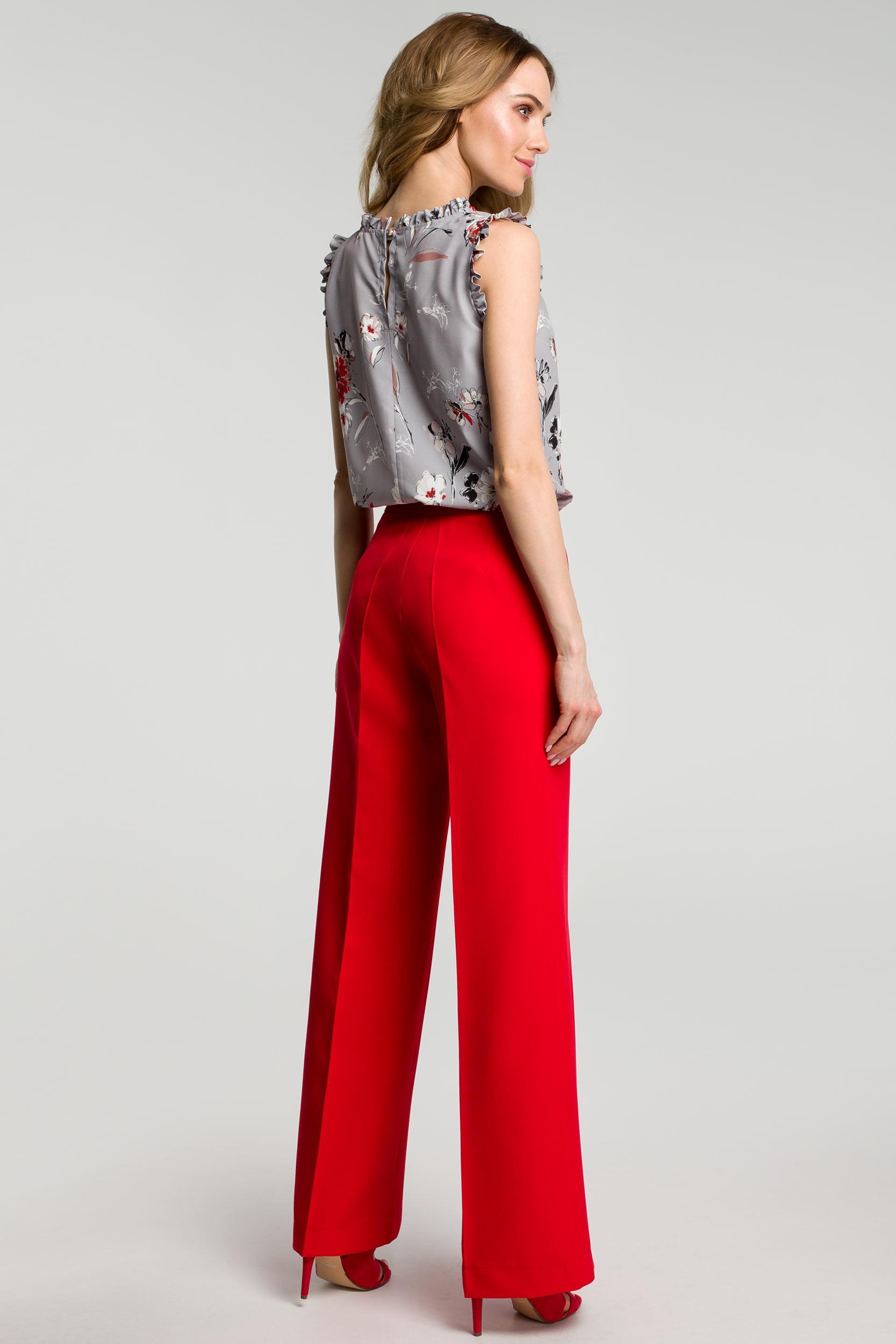 CM3638 Spodnie z szerokimi nogawkami - czerwone