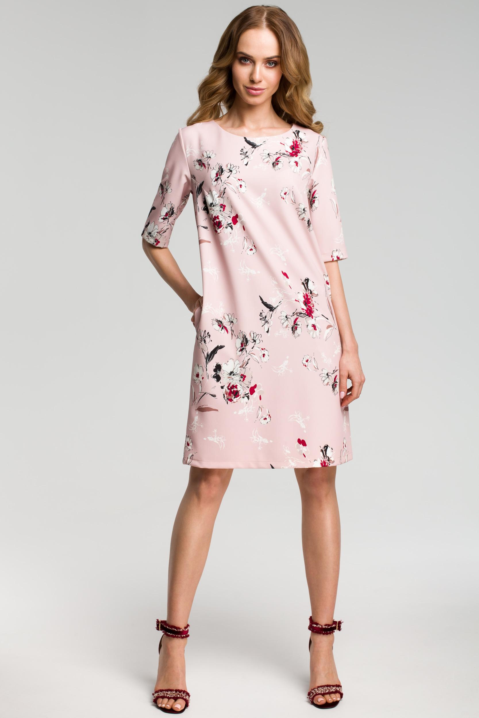 CM3639 Sukienka we wzór z gładkimi wstawkami po bokach - pudrowa