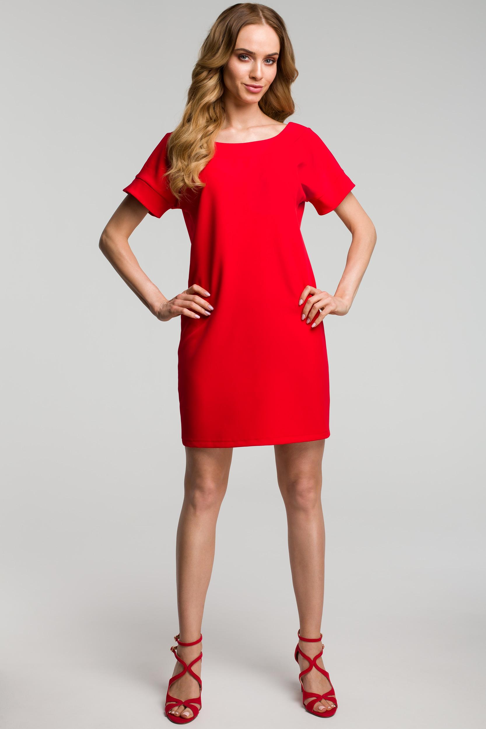 CM3640 Sukienka z dekoltem na plecach - czerwona
