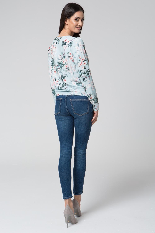 CM3677 Kopertowa bluzka z długim rękawem - jasny nadruk