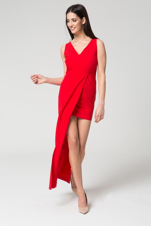 CM3680 Dopasowana sukienka wydłużona z boku - czerwona