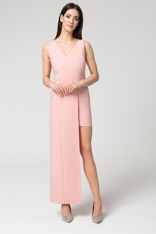 CM3680 Dopasowana sukienka wydłużona z boku - różowa