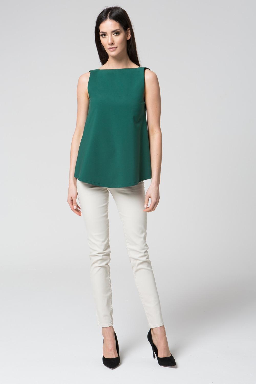 CM3682 Bluzka bez rękawów z odkrytymi plecami - zielona