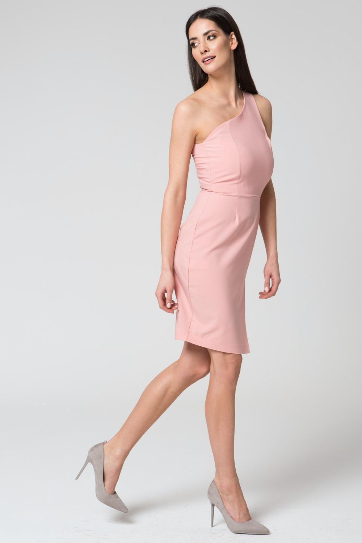 CM3685 Taliowana sukienka na jedno ramię - różowa