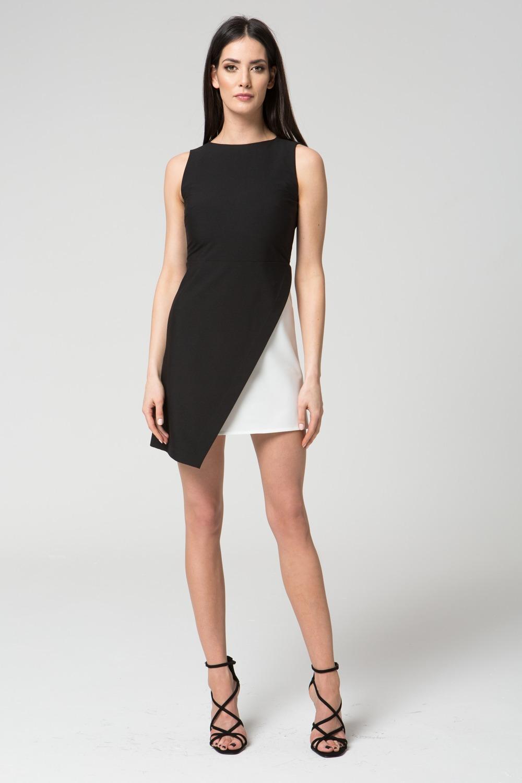 CM3687 Dwukolorowa sukienka bez rękawów - czarno-biała