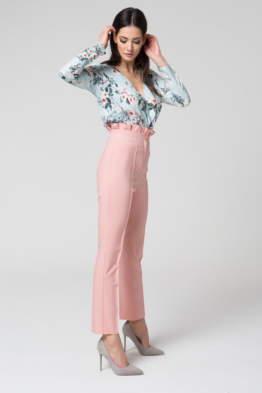 CM3688 Eleganckie spodnie z podwyższonym stanem - różowe