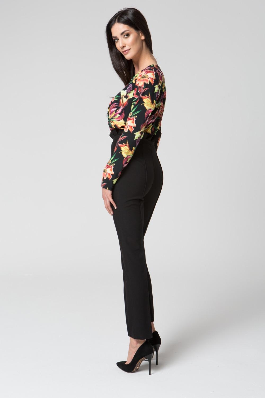 CM3688 Eleganckie spodnie z podwyższonym stanem - czarne