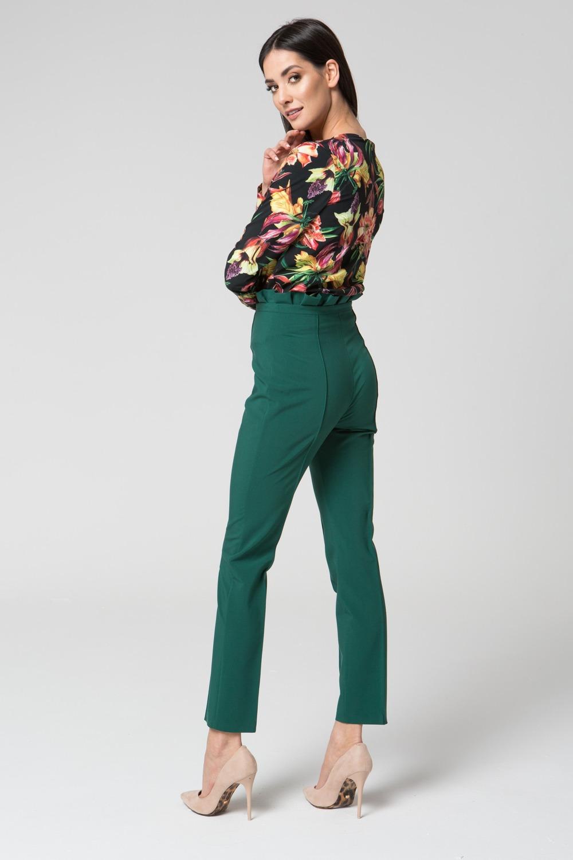 CM3688 Eleganckie spodnie z podwyższonym stanem - zielone