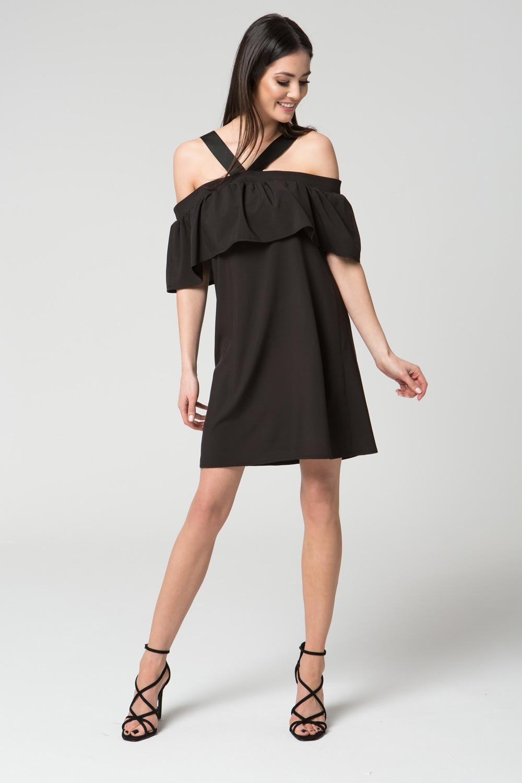CM3689 Zwiewna sukienka na ramiączkach - czarna