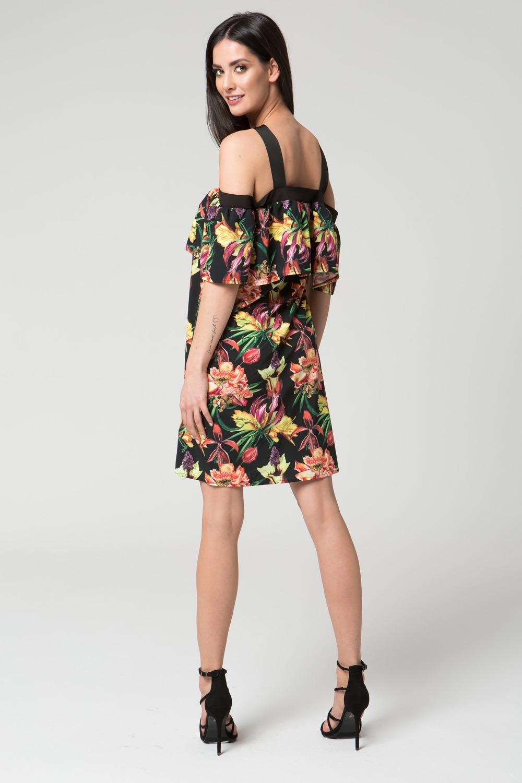 CM3689 Zwiewna sukienka na ramiączkach - ciemny nadruk