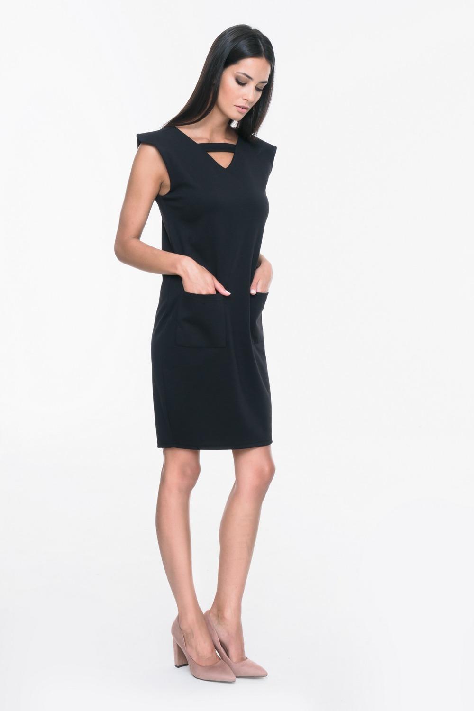 CM3694 Sukienka bez rękawów z ozdobnym paskiem - czarna