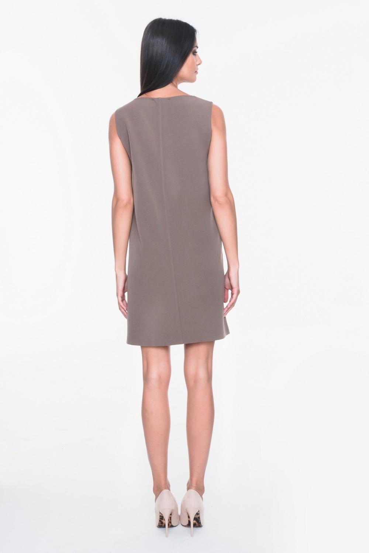 CM3695 Sukienka bez rękawów z dekoltem w serek - brązowa