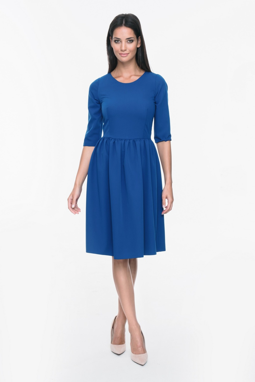CM3701 Sukienka z rękawem 3/4 i rozkloszowanym dołem - szafirowa