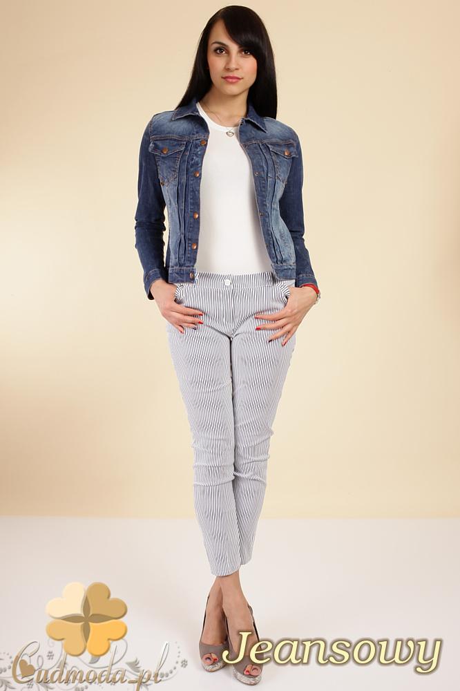 CM0249 Taliowana przecierana jeansowa kurtka z napami