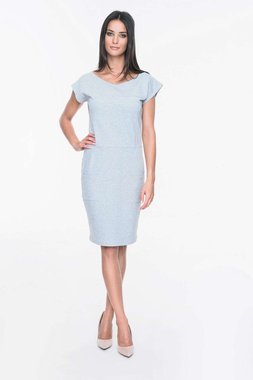 CM3702 Bawełniana sukienka z kieszeniami - szara