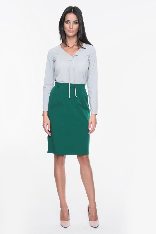 CM3707 Elegancka ołówkowa spódnica - zielona