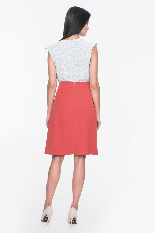 CM3708 Trapezowa spódnica z kieszeniami - czerwona