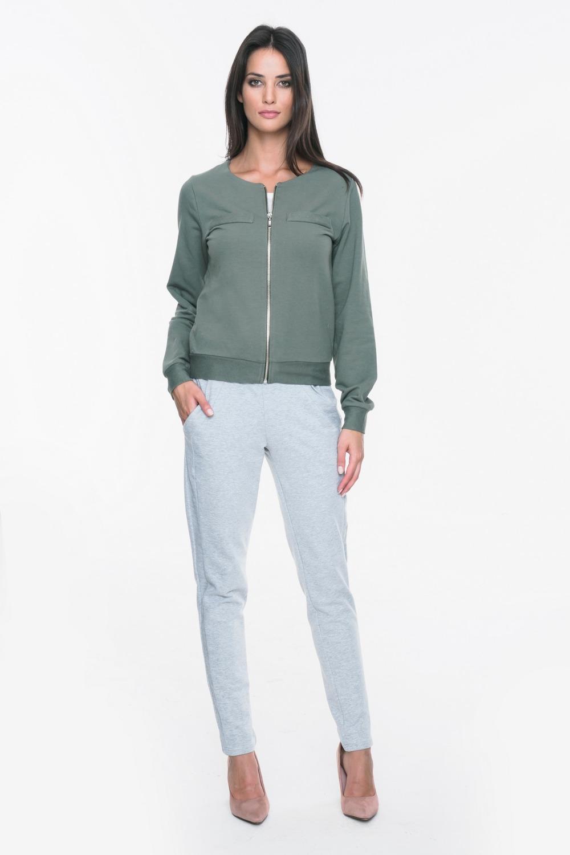 CM3715 Sportowa bluza zasuwana na zamek - khaki