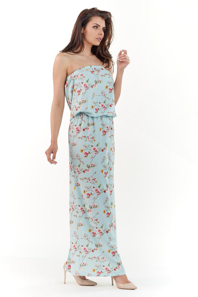 CM3727 Sukienka maxi bez rękawów - niebieska