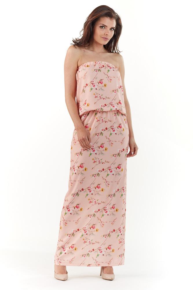 CM3727 Sukienka maxi bez rękawów - różowa