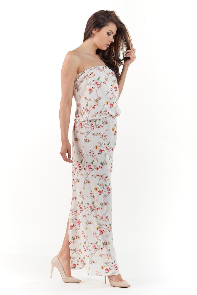 CM3727 Sukienka maxi bez rękawów - ecru