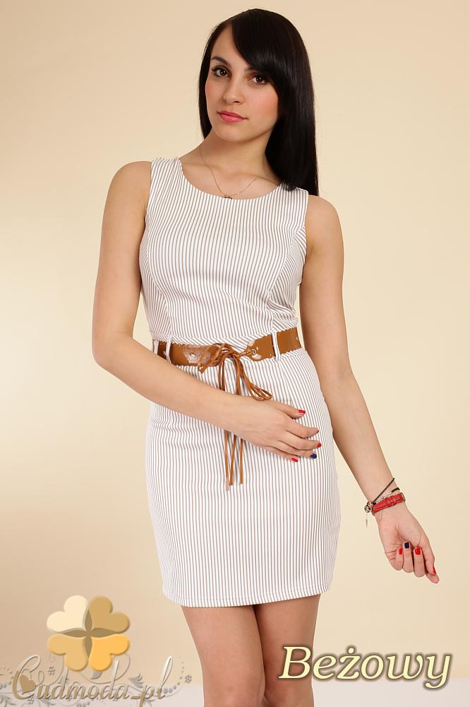 CM0253 Prosta elastyczna mini sukienka w paseczki - beżowa