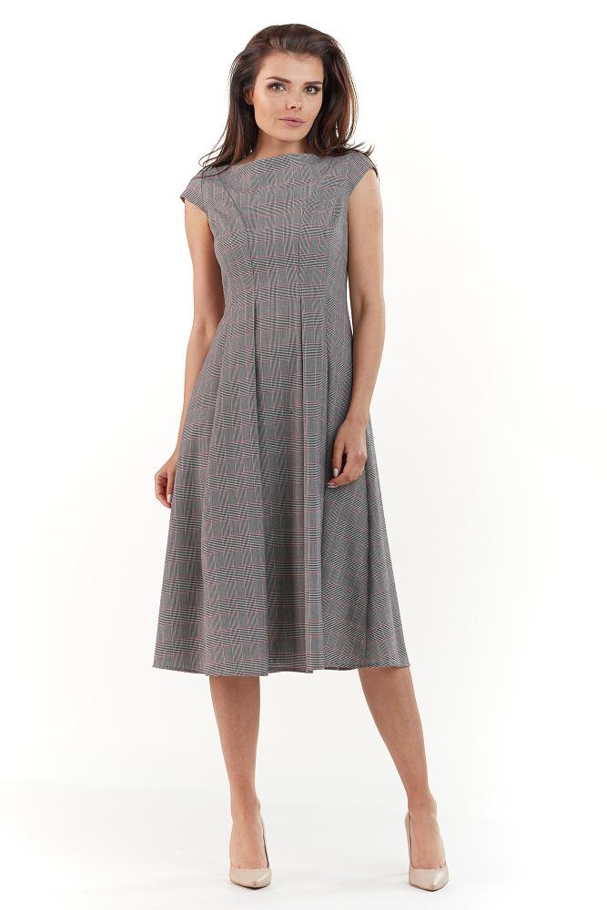 4efcb2aa03 CM3730 Elegancka sukienka midi w kratkę - szara ...
