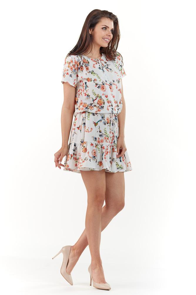 CM3738 Modelująca sukienka w kwiaty - ecru