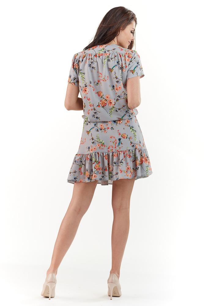 CM3738 Modelująca sukienka w kwiaty - szara